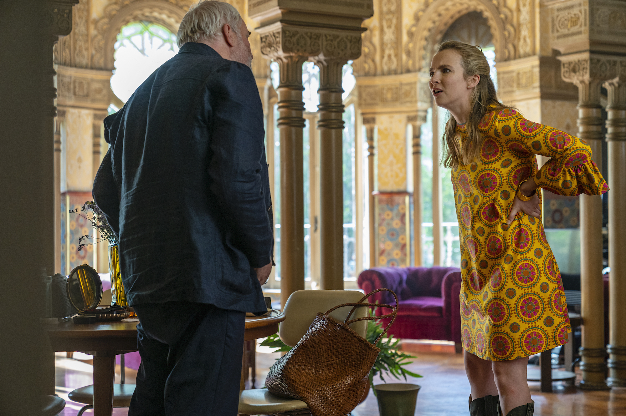 Jodie Comer as Villanelle and Kim Bodnia as Konstantin Vasiliev in 'Killing Eve,' Season 3.