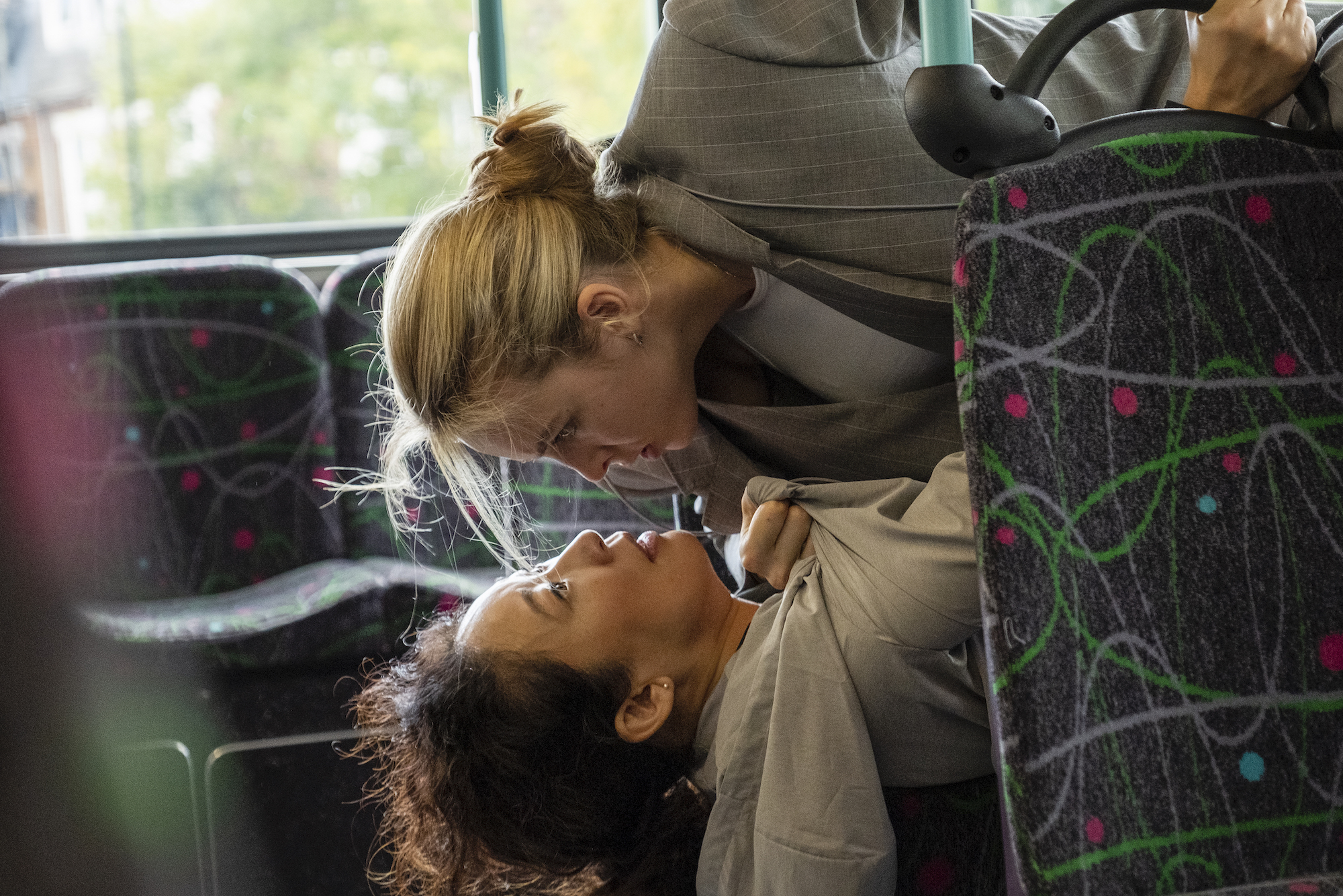 Sandra Oh as Eve Polastri and Jodie Comer as Villanelle in 'Killing Eve' during the now-famous bus scene.