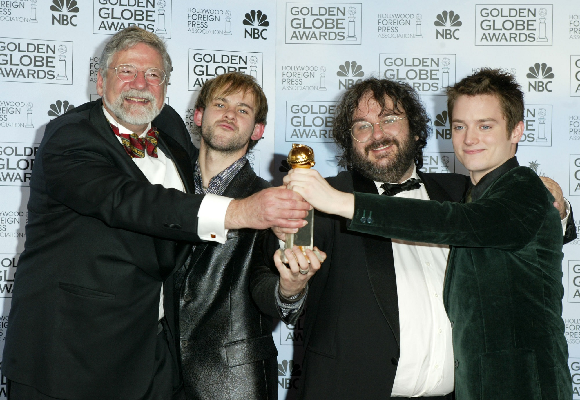 Barrie M. Osbourne, Dominic Monaghan, Peter Jackson, and Elijah Wood, of Lord of the Rings