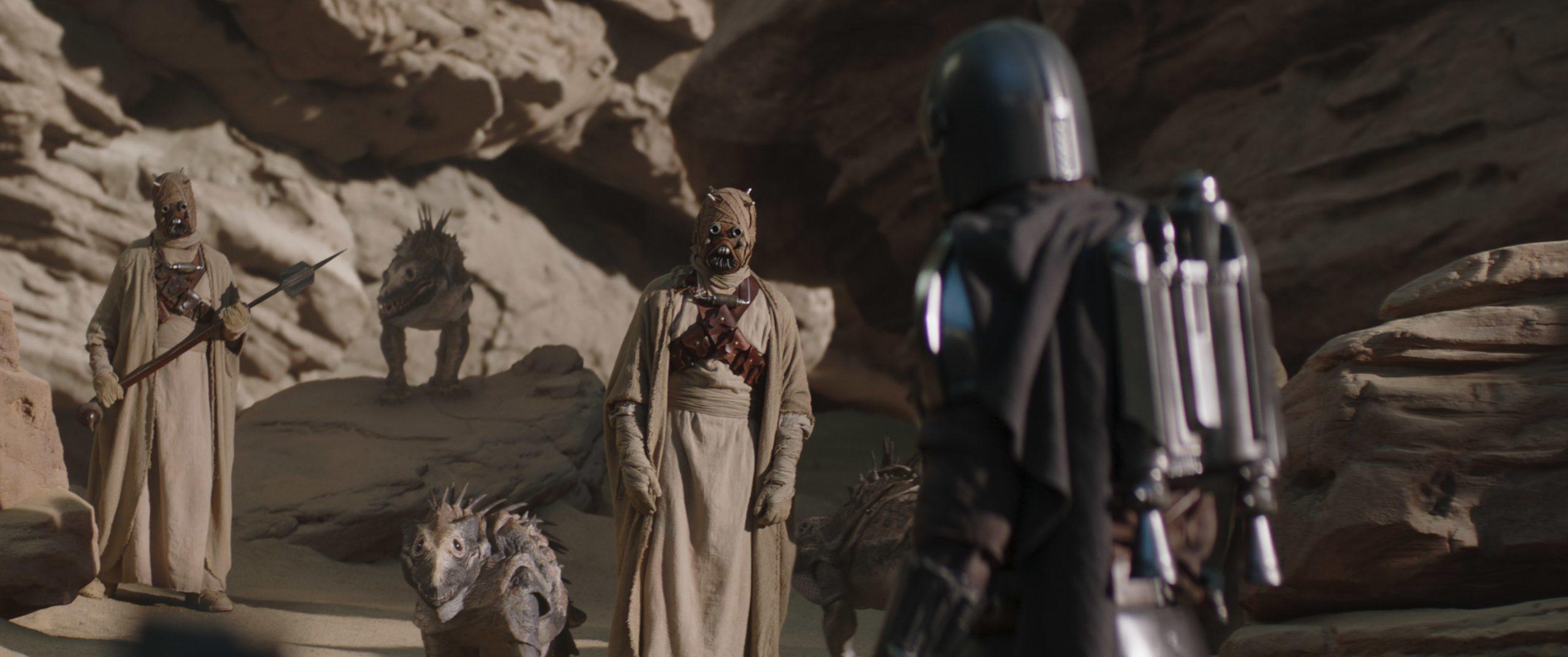 Mando speaks with the Tusken Raiders in 'The Mandalorian' Season 2.