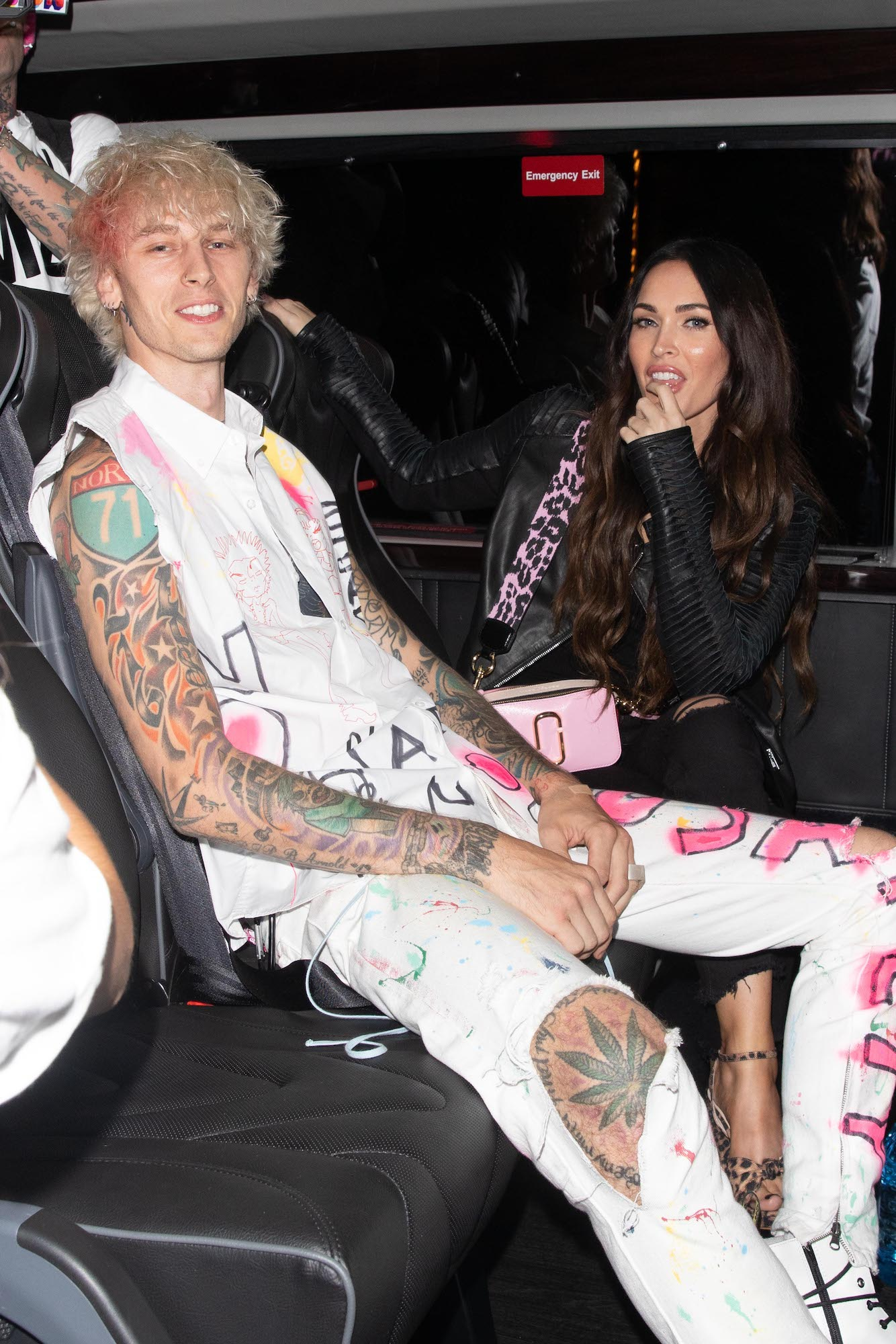 Machine Gun Kelly and Megan Fox leaving a restaurant on September 24, 2020 in Los Angeles, California.