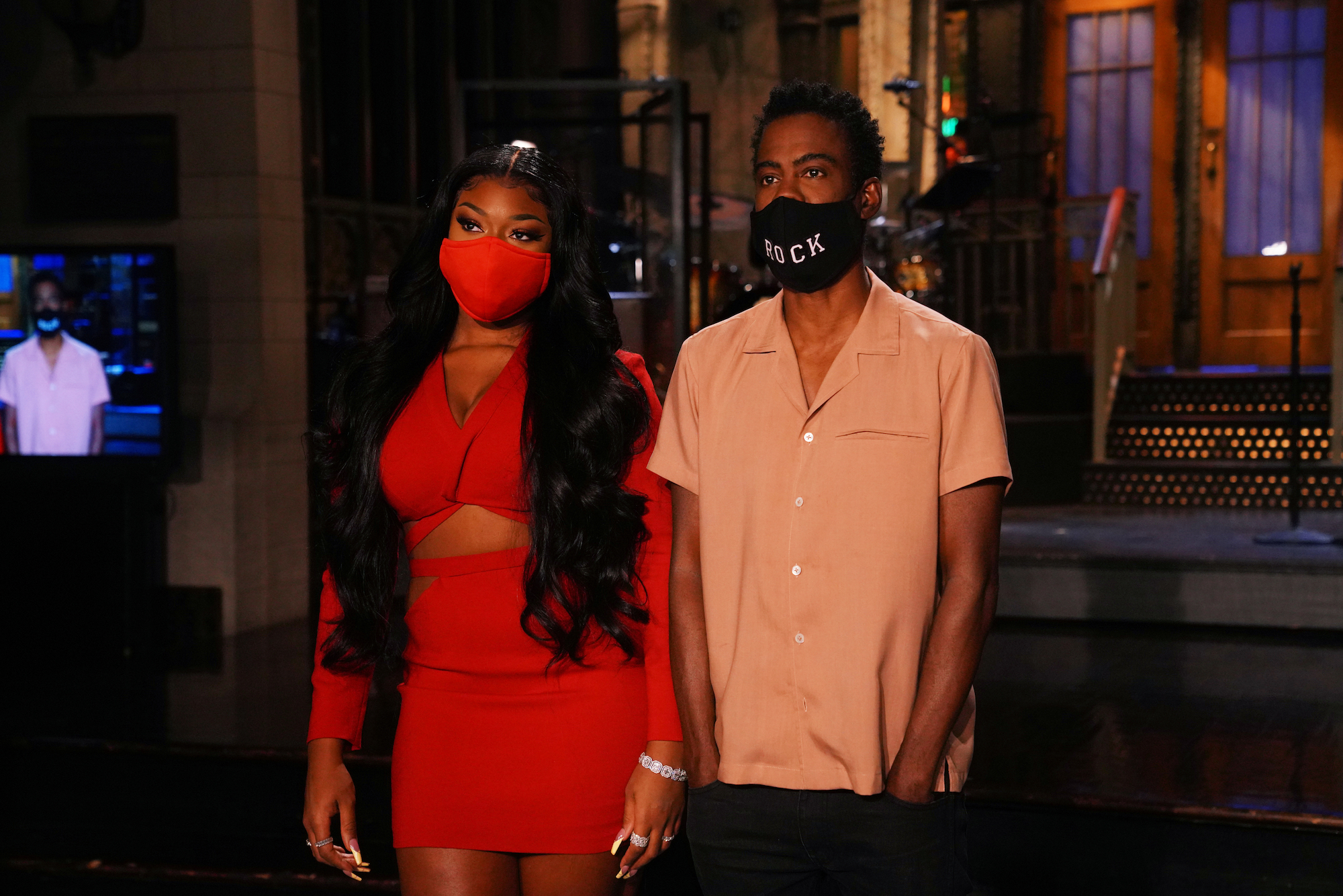 Megan Thee Stallion and Chris Rock during a promo for Oct. 3's 'Saturday Night Live' episode.