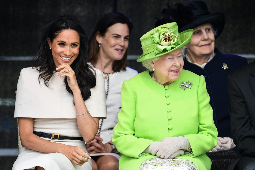 Meghan Markle and Queen Elizabeth during a ceremony to open the new Mersey Gateway Bridge on June 14, 2018