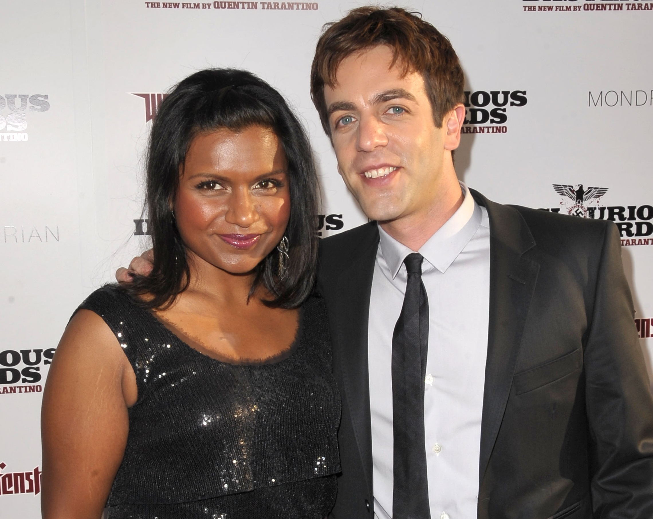 Mindy Kaling and B.J. Novak arrive at the 'Inglourious Basterds' premiere on August 10, 2009