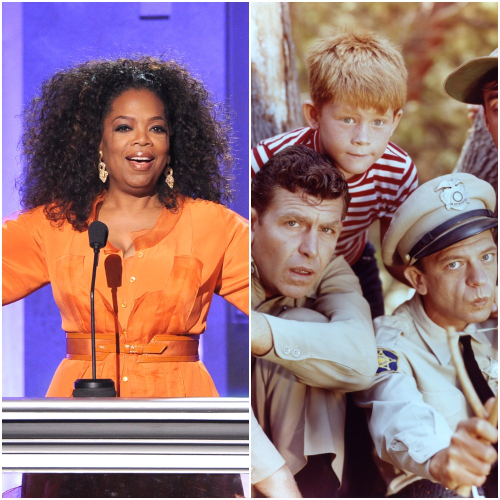 Oprah Winfrey, left and 'The Andy Griffith Show' cast