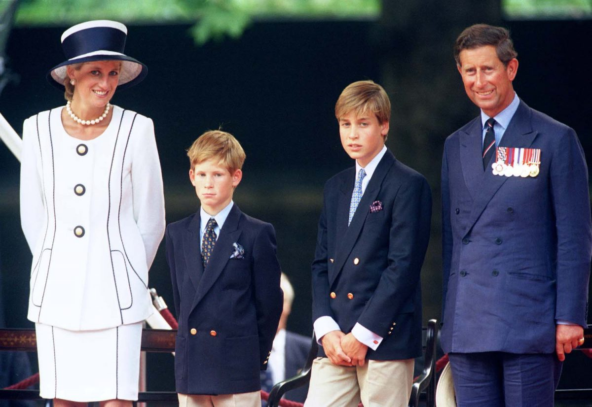 Princess Diana, Prince Harry, Prince William, and Prince Charles attend The Vj Day 50Th Anniversary Celebrations In London