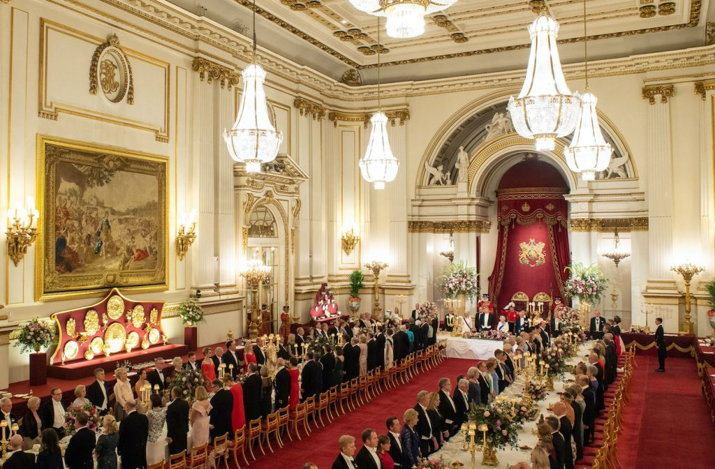 Queen Elizabeth II hosts US President Donald Trump and US First Lady Melania Trump for a State Banquet in the ballroom at Buckingham Palace in central London on June 3, 2019
