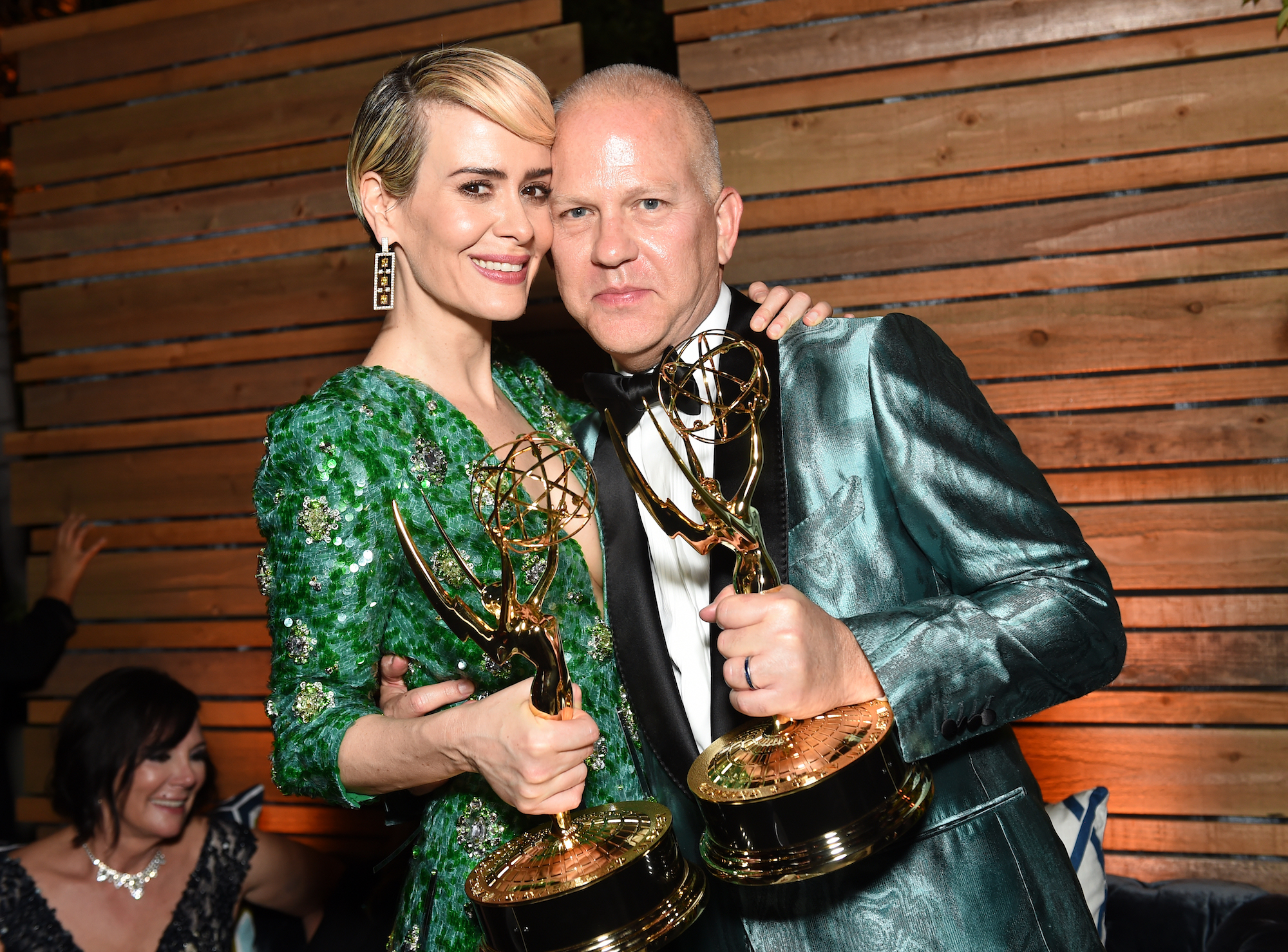 Sarah Paulson and Ryan Murphy at the FOX Broadcasting Company, FX, National Geographic, And Twentieth Century Fox Television's 68th Primetime Emmy Awards After Party on September 18, 2016.