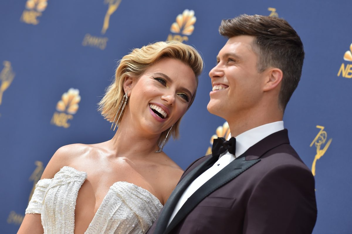 Scarlett Johansson and Colin Jost attend the 70th Emmy Awards on September 17, 2018
