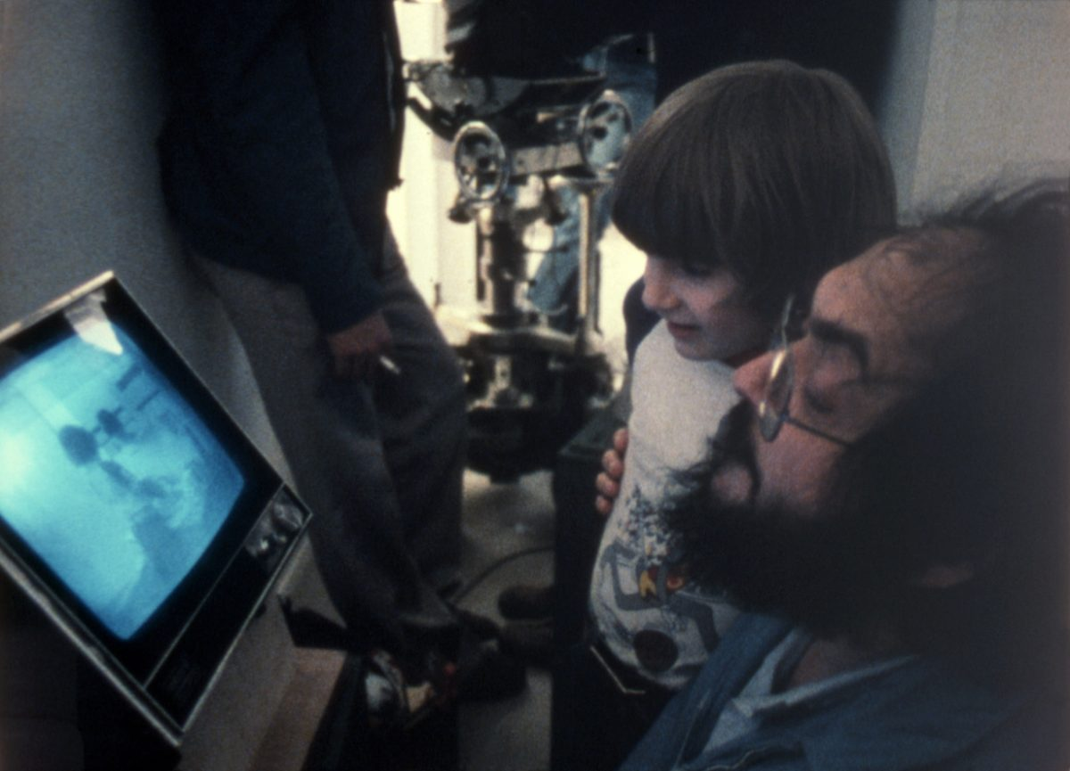 Stanley Kubrick on the set with Danny Llyod