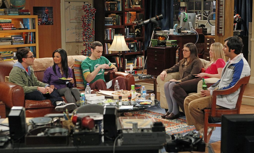 The cast of 'The Big Bang Theory' enjoys a meal in Leonard and Sheldon's living room