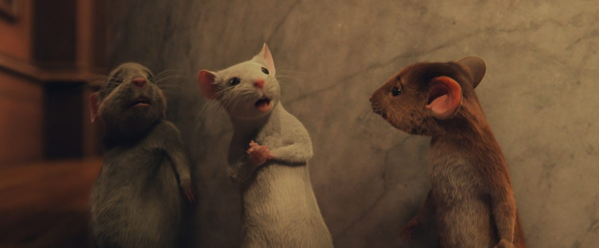 (L-r) The three mice, Bruno, Daisy and Hero Boy in 'The Witches'
