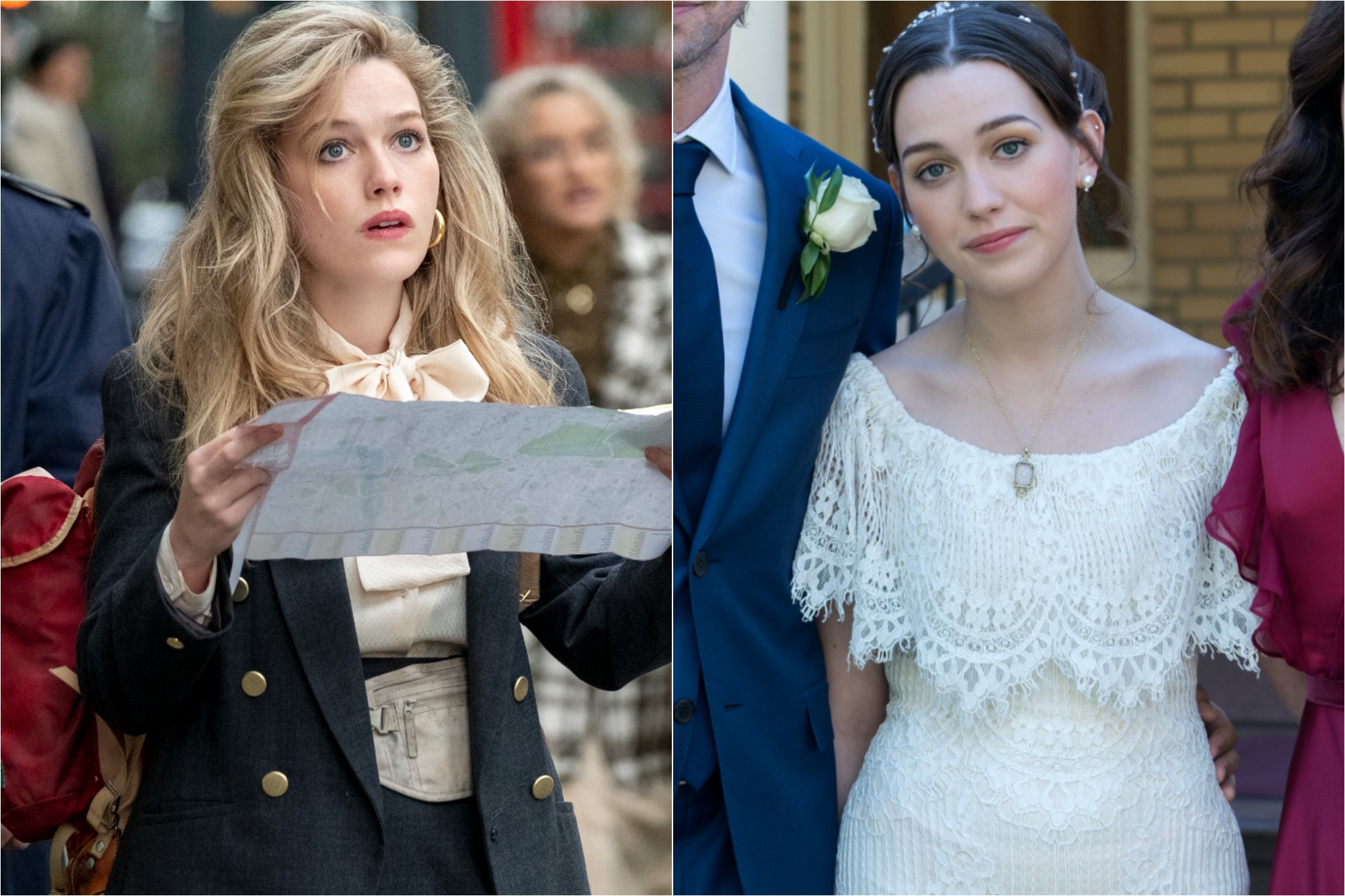 Victoria Pedretti in Episode 1 as Dani in 'THE HAUNTING OF BLY MANOR' / Pedretti as Nell on her wedding day in 'THE HAUNTING OF HILL HOUSE'