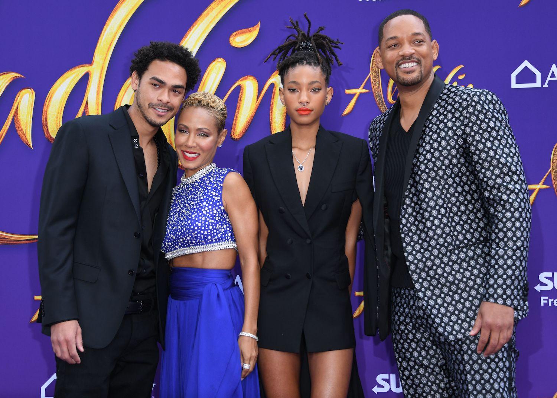 Trey Smith, Jada Pinkett Smith, Willow Smith, and Will Smith attend the World Premiere of Disneys Aladdin
