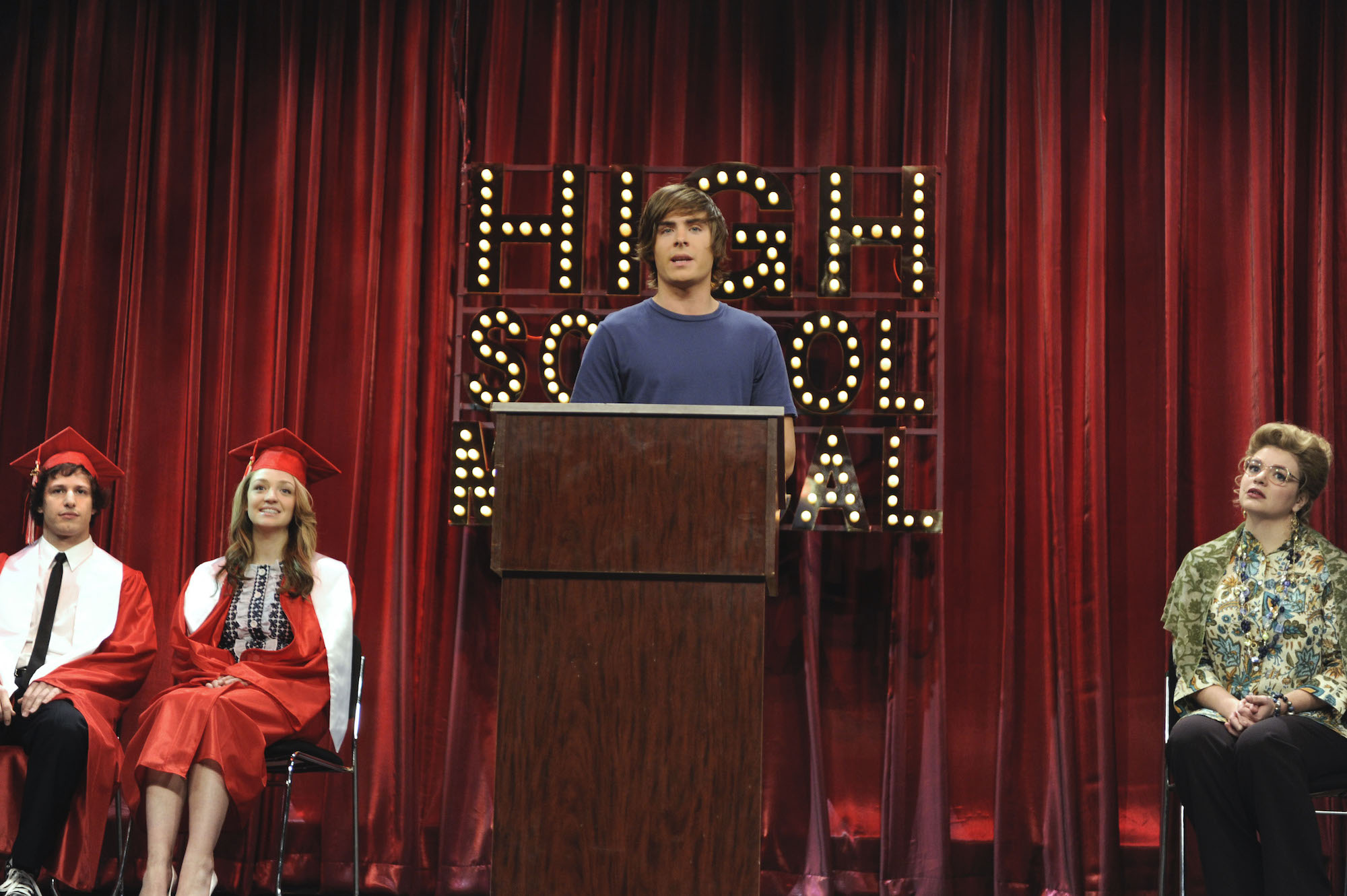 Zac Efron as Troy Bolton on an episode of 'Saturday Night Live,' which he hosted on April 11, 2009.