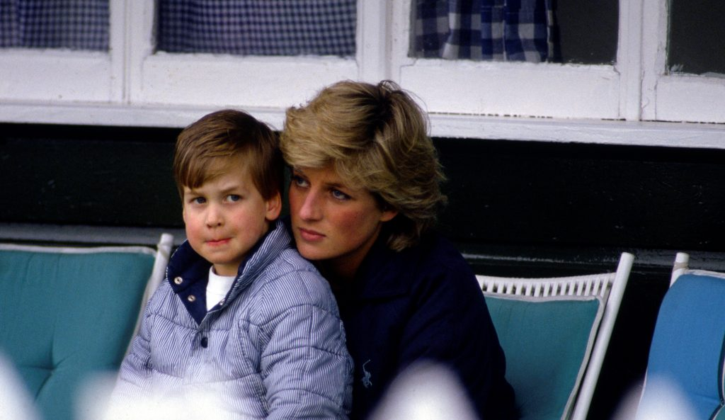 A young Prince William with his mother, Princess Diana