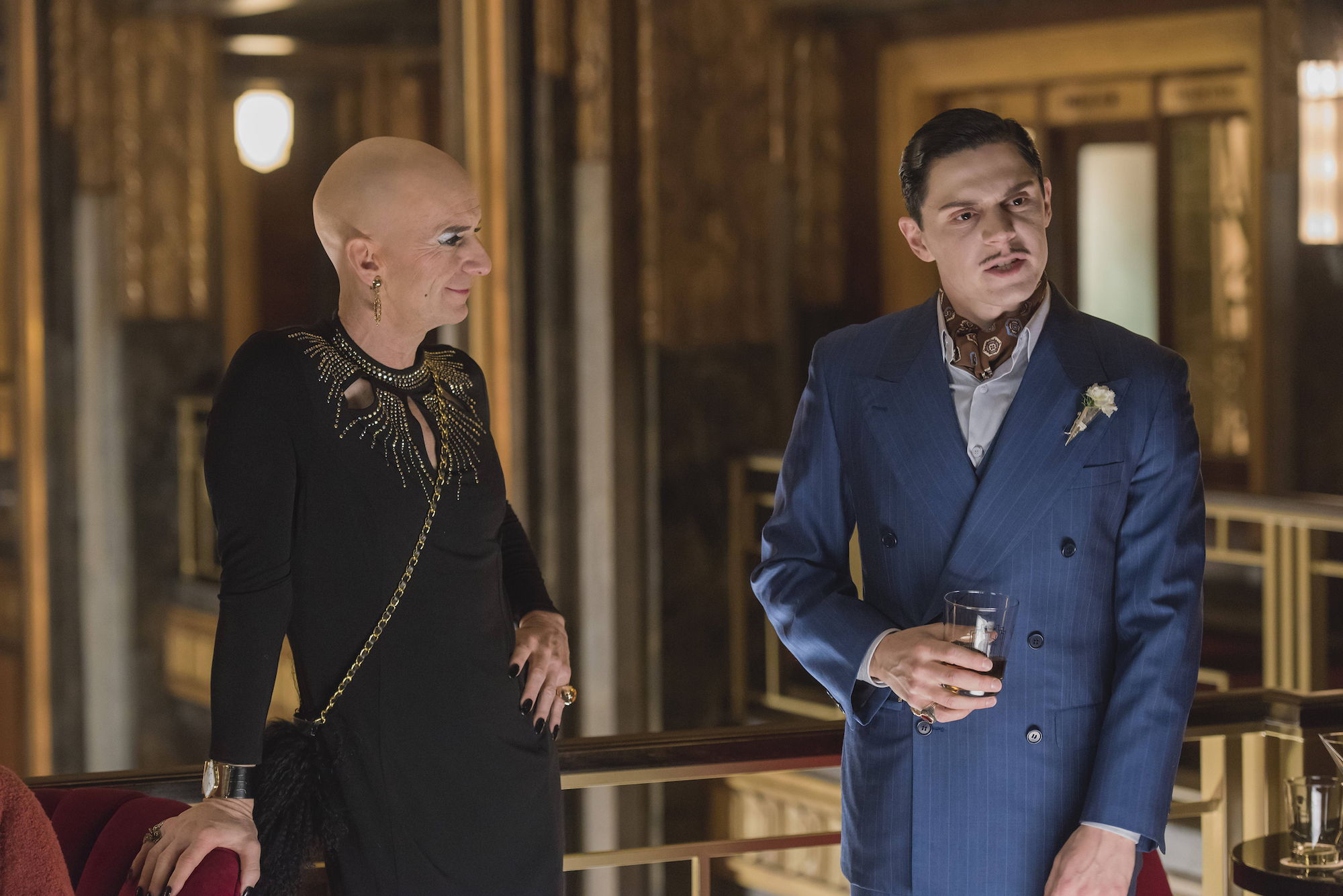 Denis O'Hare as Liz and Evan Peters as Mr. March in 'AMERICAN HORROR STORY: HOTEL'