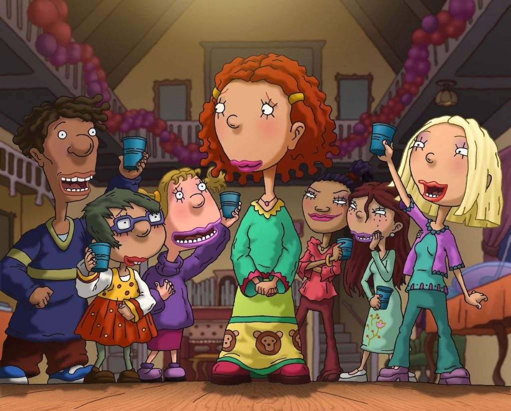 As Told By Ginger characters at a party with Ginger in the middle