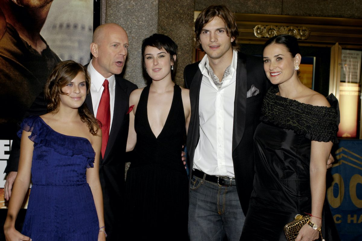 Tallulah Willis, Bruce Willis, Rumer Willis, Ashton Kutcher and Demi Moore