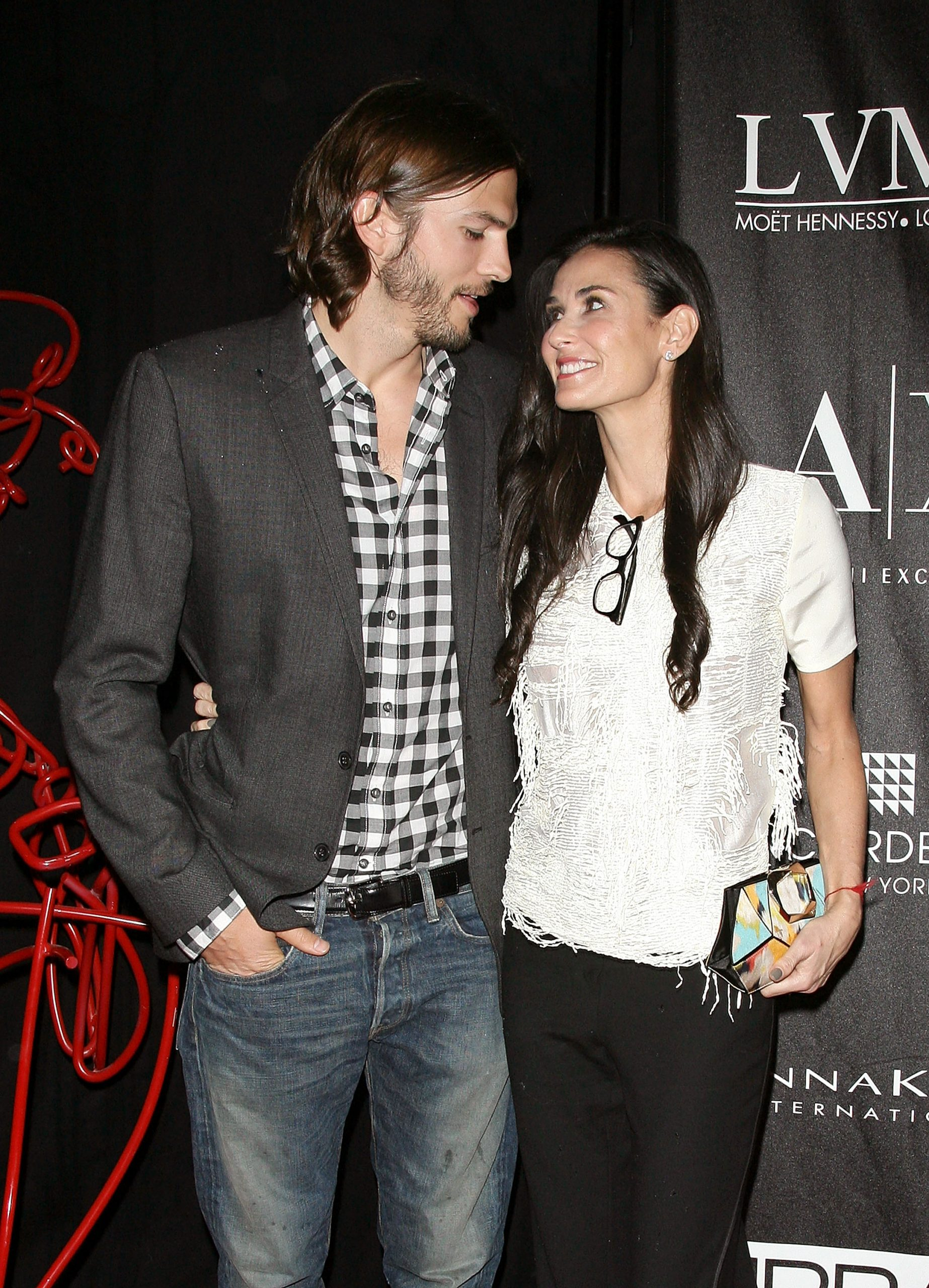 Actors Ashton Kutcher and Demi Moore attend The Urban Zen Stephan Weiss Apple Awards at Urban Zen on June 9, 2011 in New York City.
