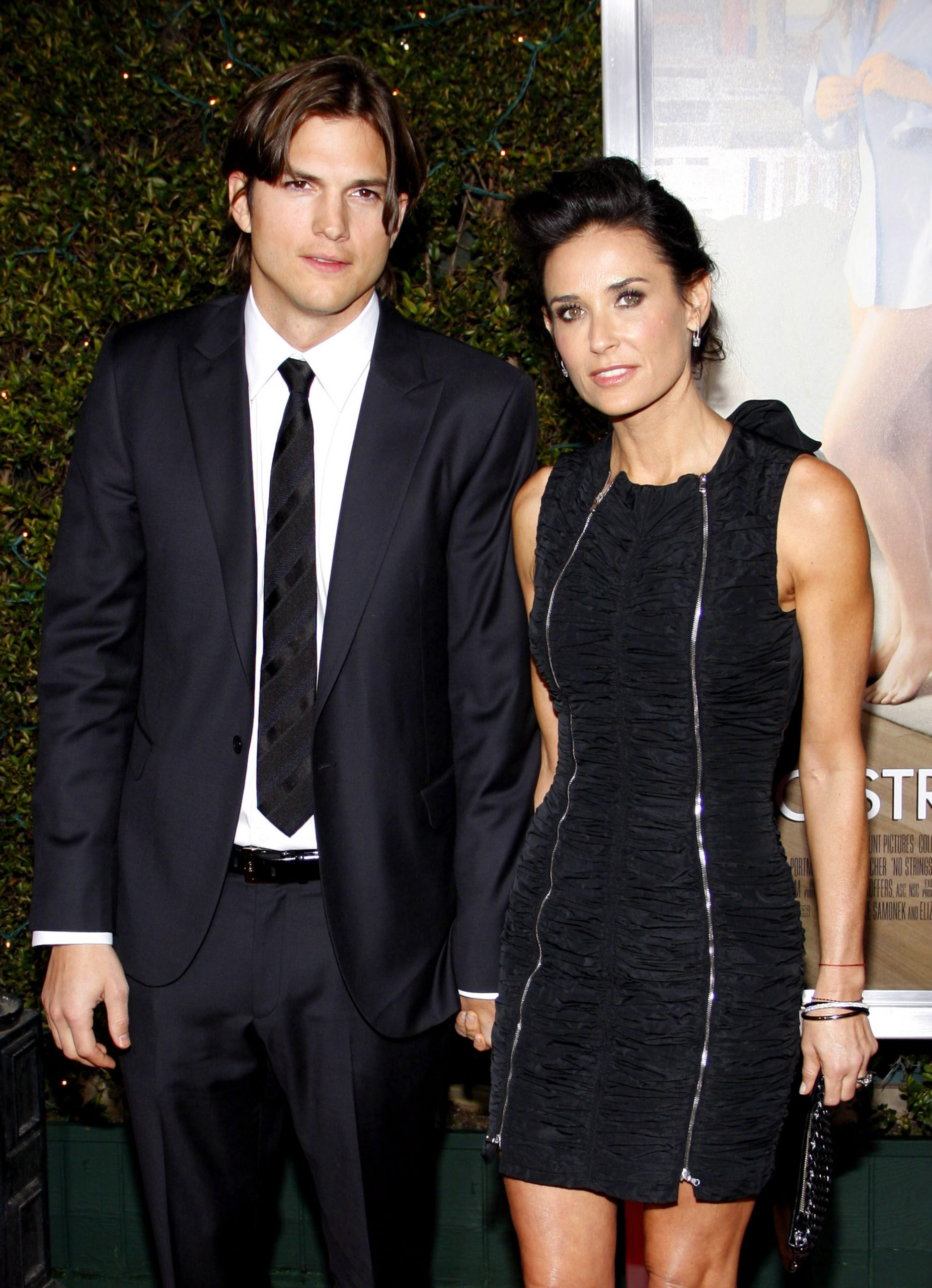 """Ashton Kutcher and Demi Moore at the Los Angeles Premiere of """"No Strings Attached"""" held at the Regency Village Theatre in Westwood, USA on January 11, 2011."""