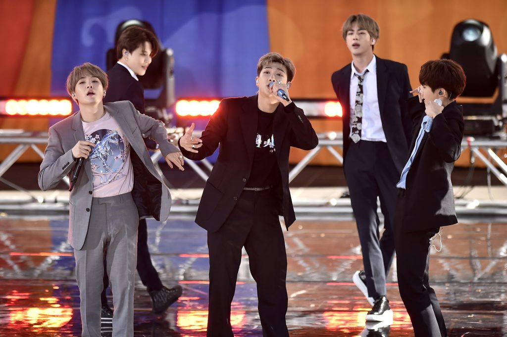 Suga, Jimin, RM, Jin, and J-Hope of BTS perform on 'Good Morning America'