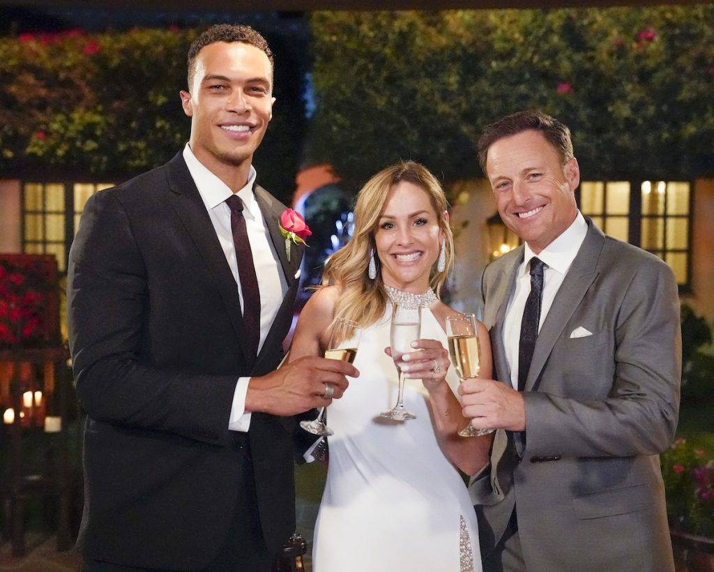 Dale Moss, Clare Crawley, and Chris Harrison