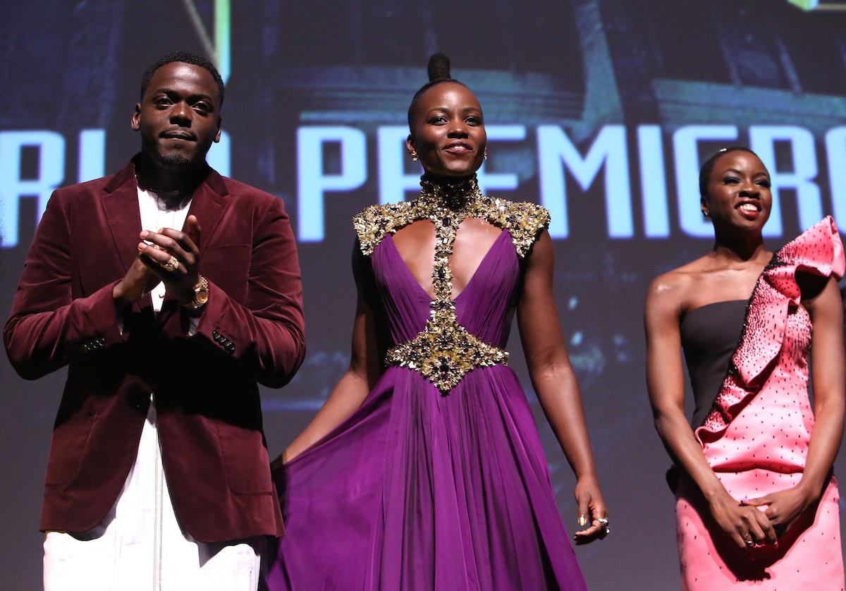Daniel Kaluuya, Lupita Nyong'o, and Danai Gurira at the 'Black Panther' premiere