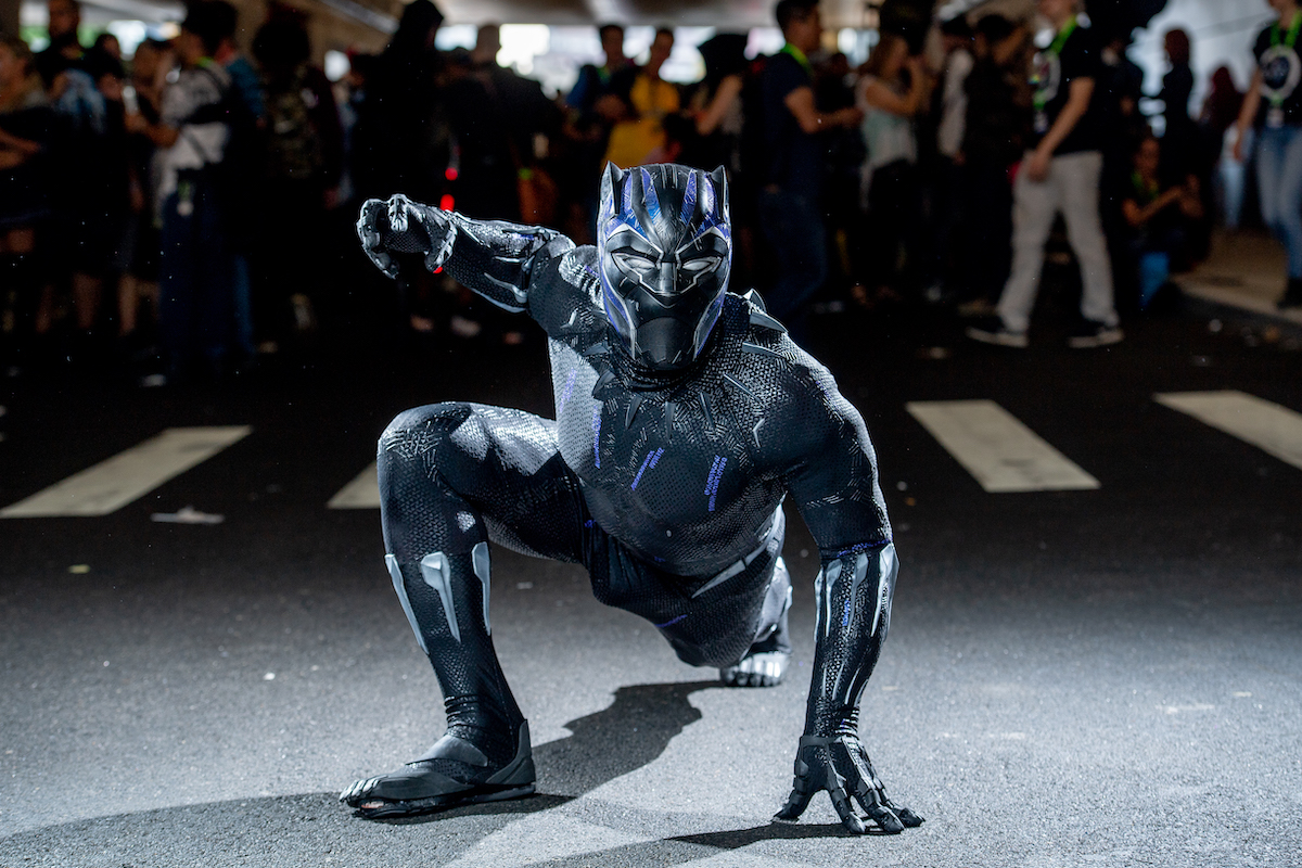 A fan cosplays as Black Panther at the 2018 New York Comic-Con