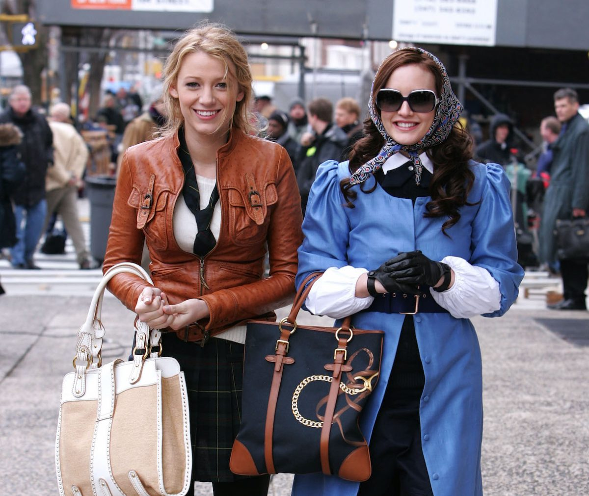 Blake Lively and Leighton Meester on location for 'Gossip Girl'