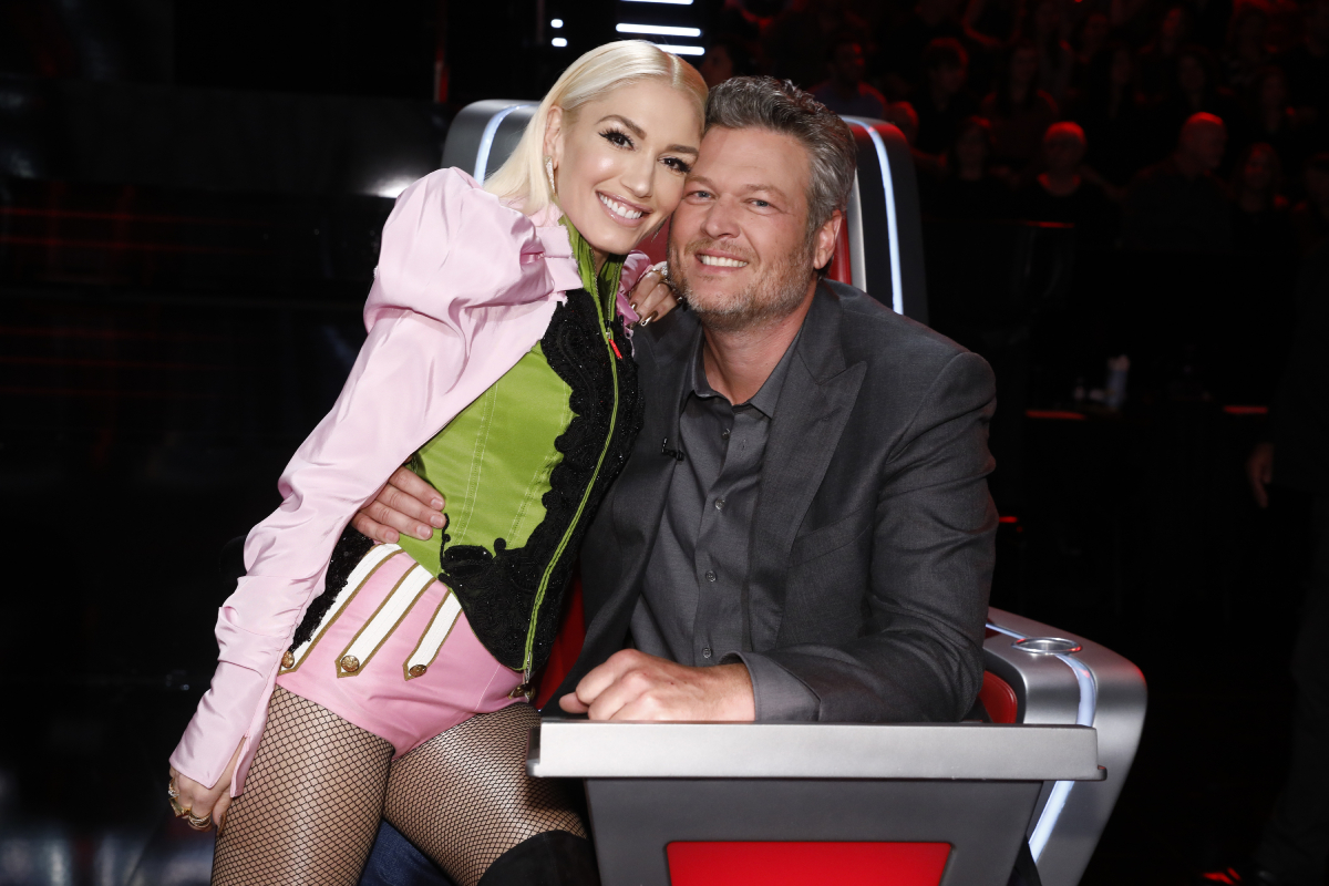 Gwen Stefani and Blake Shelton on the set of 'The Voice' on December 9, 2019