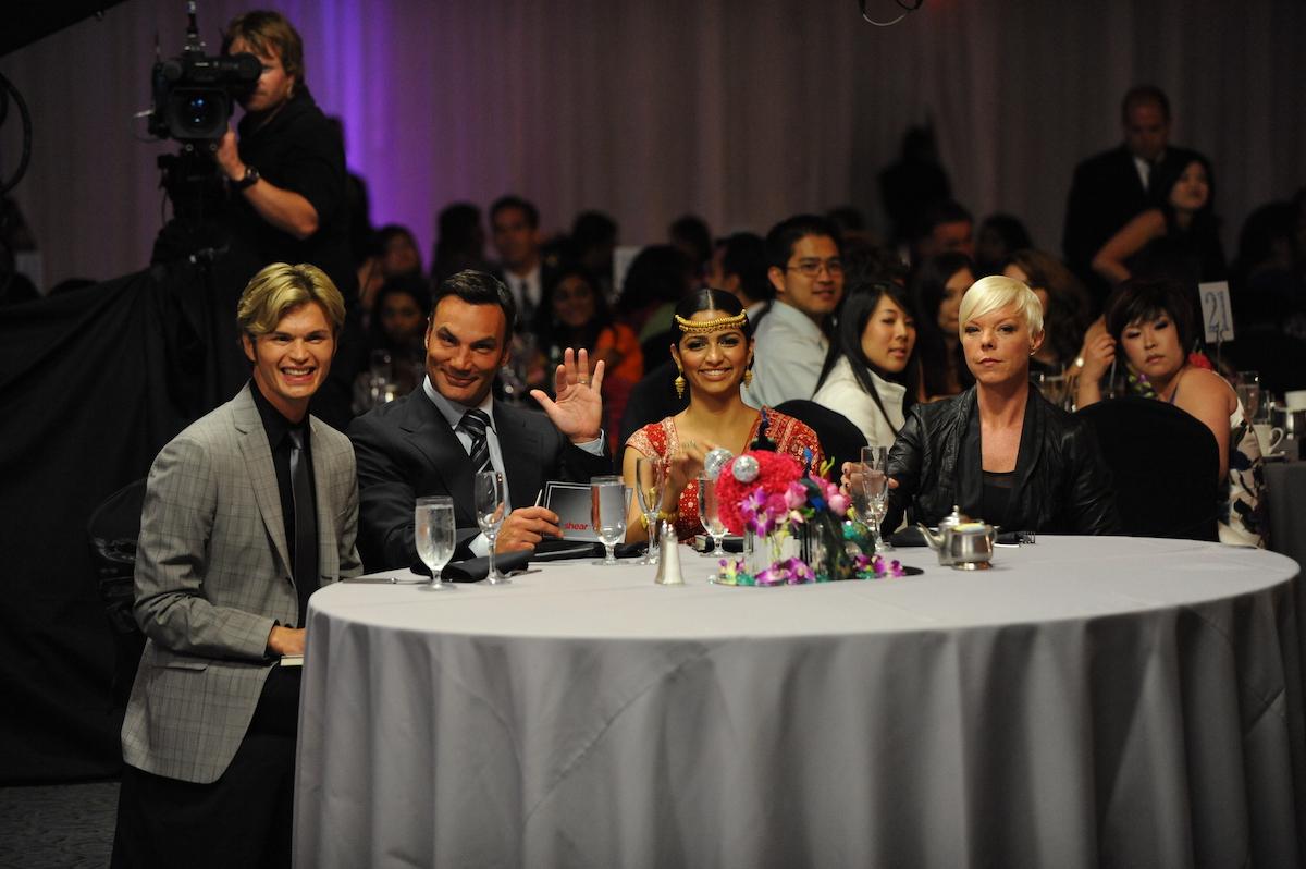 Judges Kim Vo, Jonathan Antin, host Camila Alves, judge Tabatha Coffey