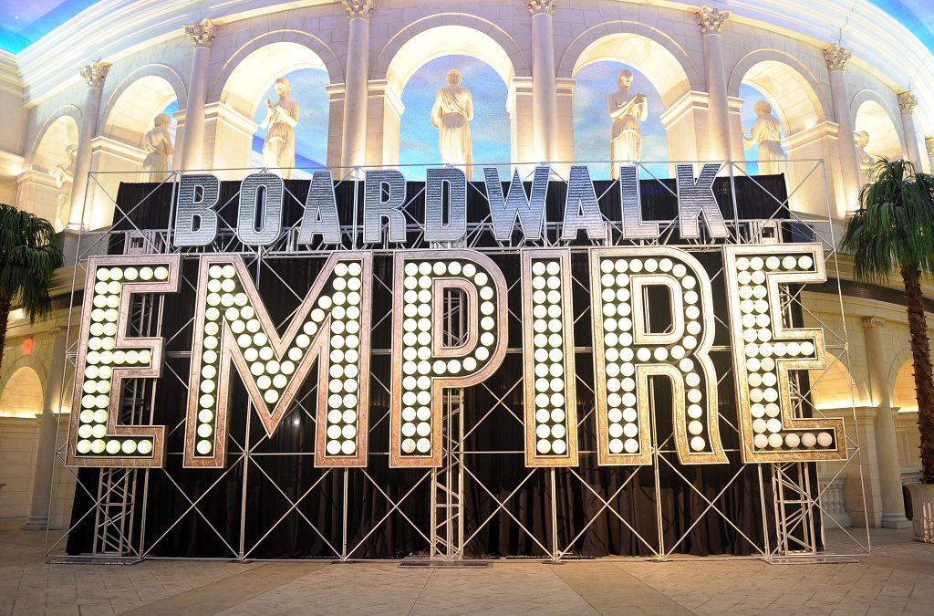 A sign for 'Boardwalk Empire' inside of a Casino