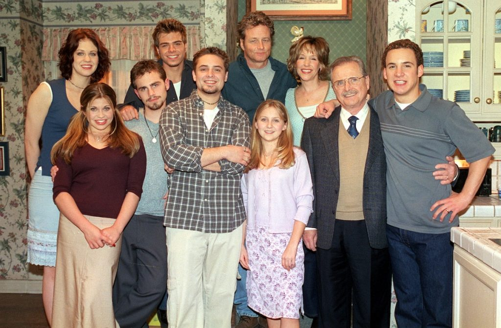 MAITLAND WARD, DANIELLE FISHEL, RIDER STRONG, MATTHEW  LAWRENCE, WILL FRIEDLE, WILLIAM RUSS, LINDSAY RIDGEWAY, BETSY RANDLE, WILLIAM DANIELS, and BEN SAVAGE behind the scenes of 'Boy Meets World'