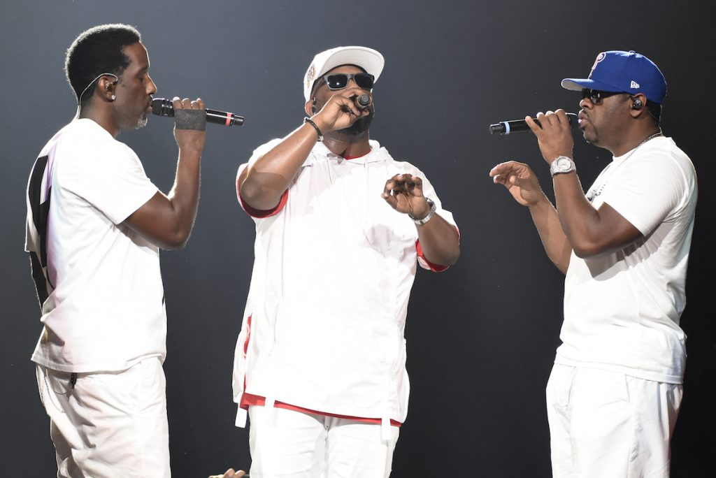 """Shawn Stockman, Wanya Morris, and Nathan Morris of Boyz II Men perform during """"The Total Package Tour"""" at Golden 1 Center on June 3, 2017 in Sacramento, California   Tim Mosenfelder/Getty Images"""