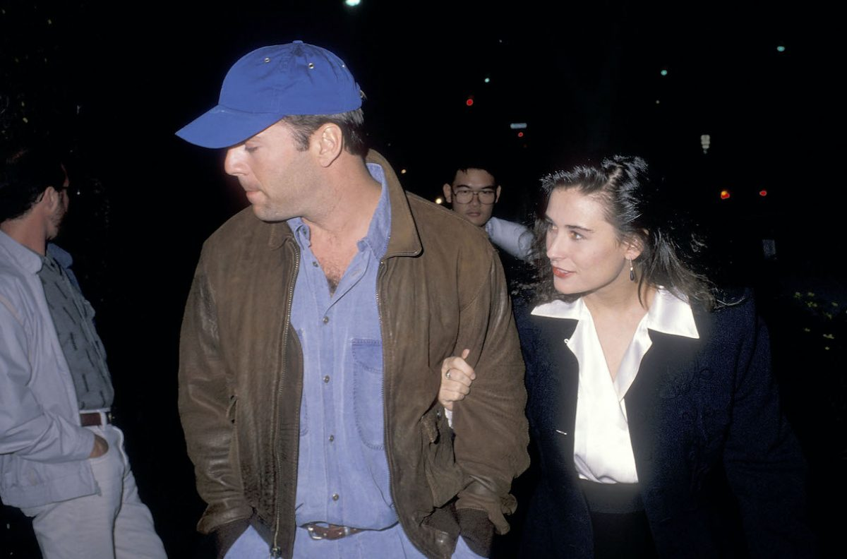 """Bruce Willis and actress Demi Moore attend the """"Hurlyburly"""" play performance on December 1, 1988"""