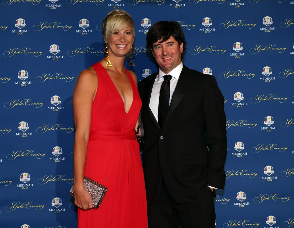 Bubba Watson of the USA and his wife Angie Watson