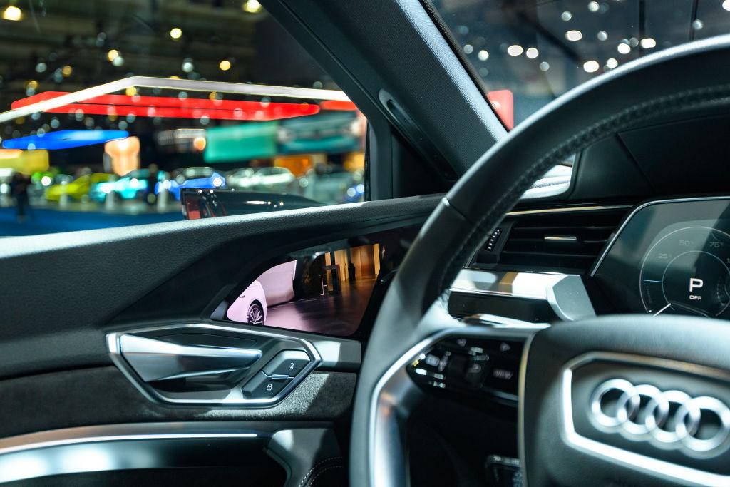 Camera rear view mirror on an Audi e-tron 55 Quattro