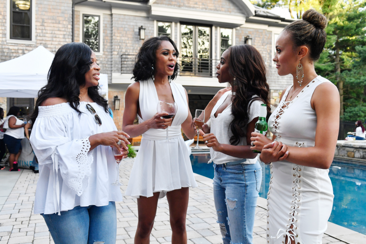 The Real Housewives of Potomac: Pictured: (l-r) Charrisse Jackson-Jordan, Monique Samuels, Candiace Dillard, Ashley Boalch Darby