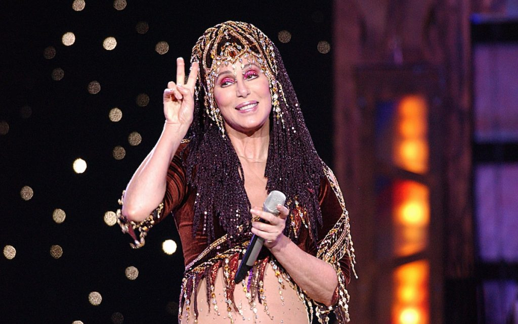Cher on stage performing