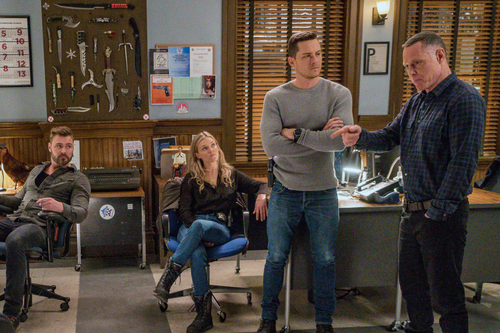 (L-R) Patrick John Flueger as Adam Ruzek, Tracy Spiridakos as Hailey Upton, Jesse Lee Soffer as Jay Halstead, Jason Beghe as Hank Voight on 'Chicago P.D.'