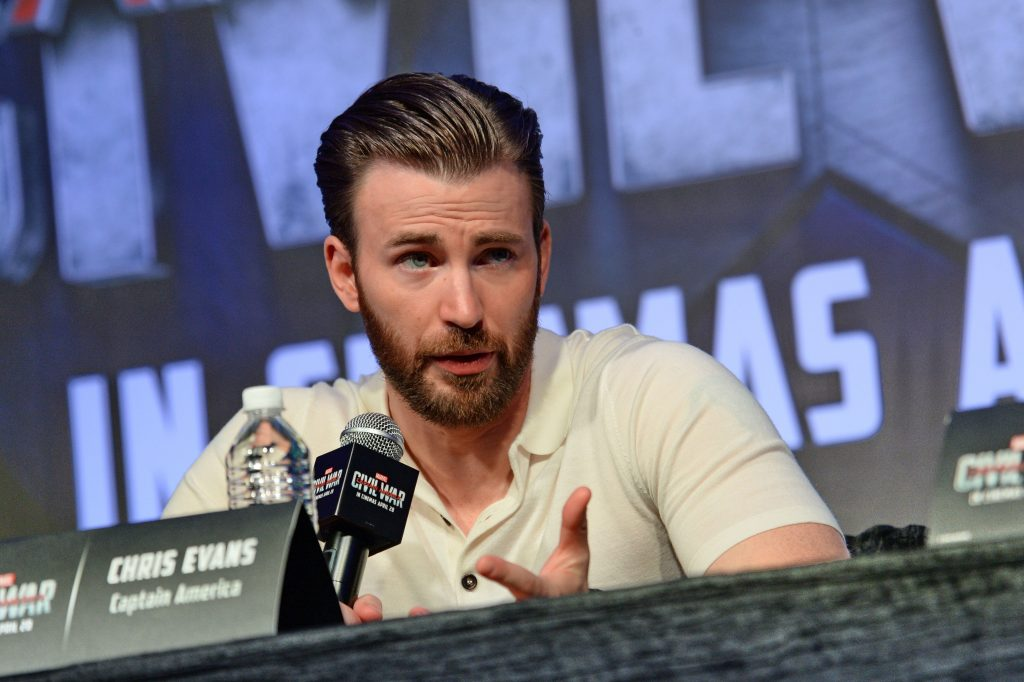 Actor Chris Evans attends a press conference at Marina Bay Sands