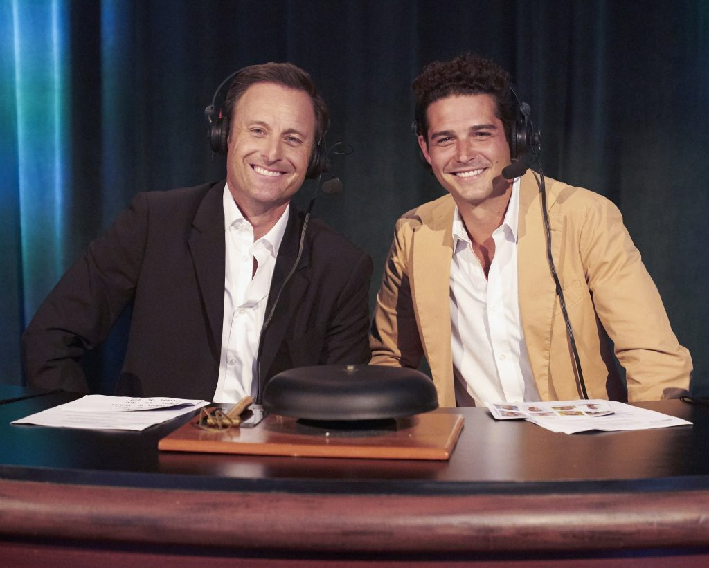 'The Bachelorette' host Chris Harrison with guest Wells Adams