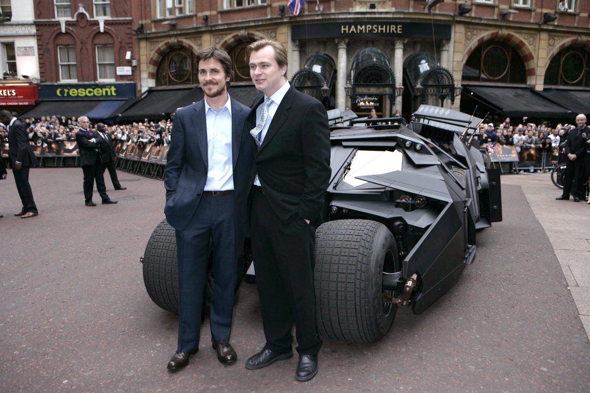 Christopher Nolan with Christian Bale and the batmobile