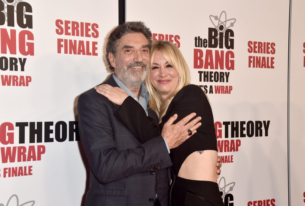 Chuck Lorre and Kaley Cuoco attend the series finale party for 'The Big Bang Theory'