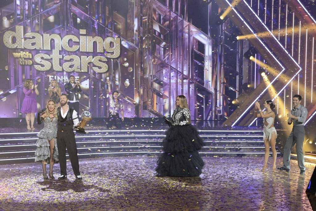 'Dancing With the Stars' host Tyra Banks with winning couple Kaitlyn Bristowe and Artem Chigvintsev
