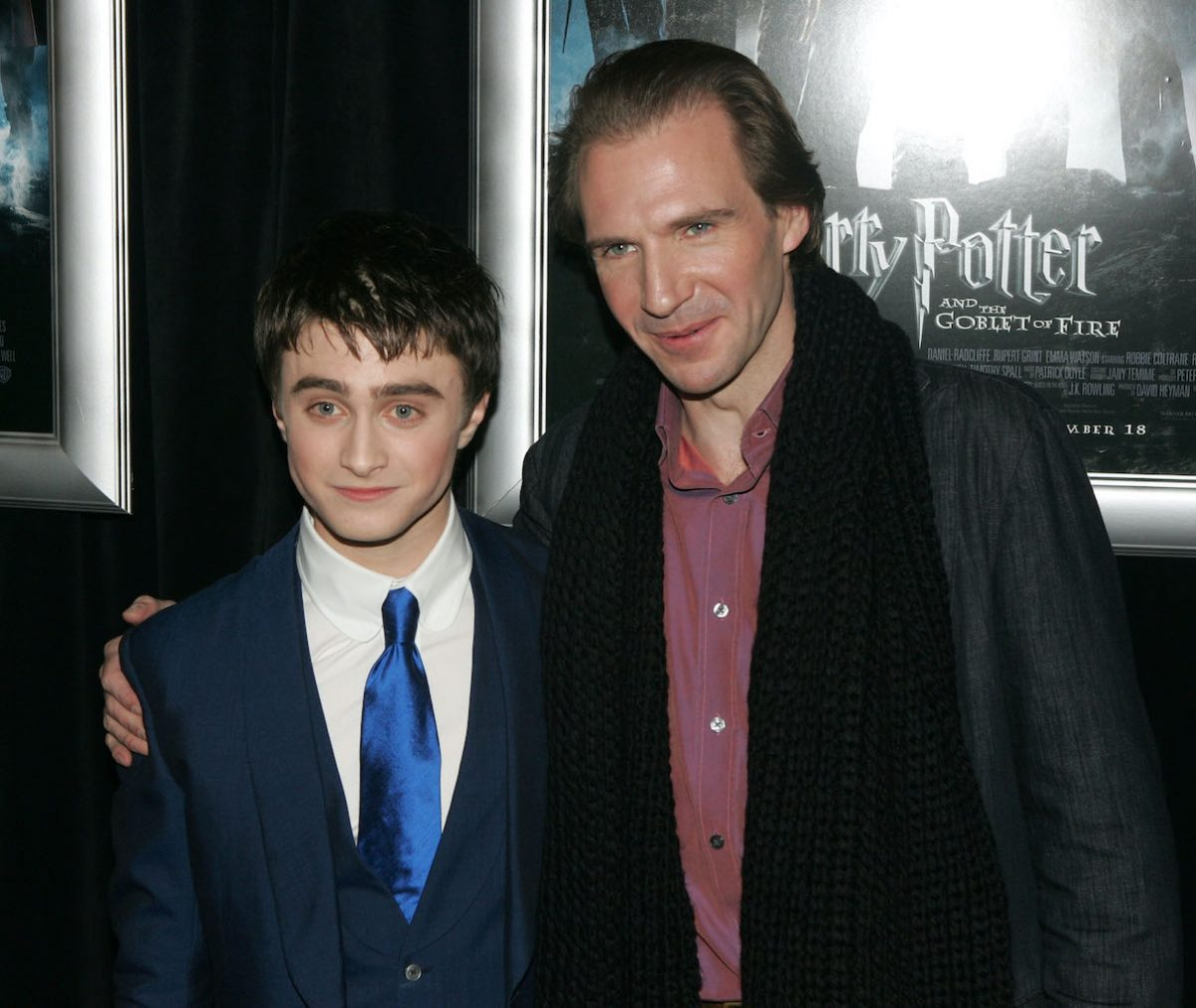 Daniel Radcliffe and Ralph Fiennes at the premiere of 'Harry Potter and the Goblet of Fire'