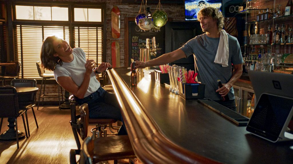 Daniela Ruah and Eric Christian Olsen on the set of NCIS: Los Angeles | CBS via Getty Images