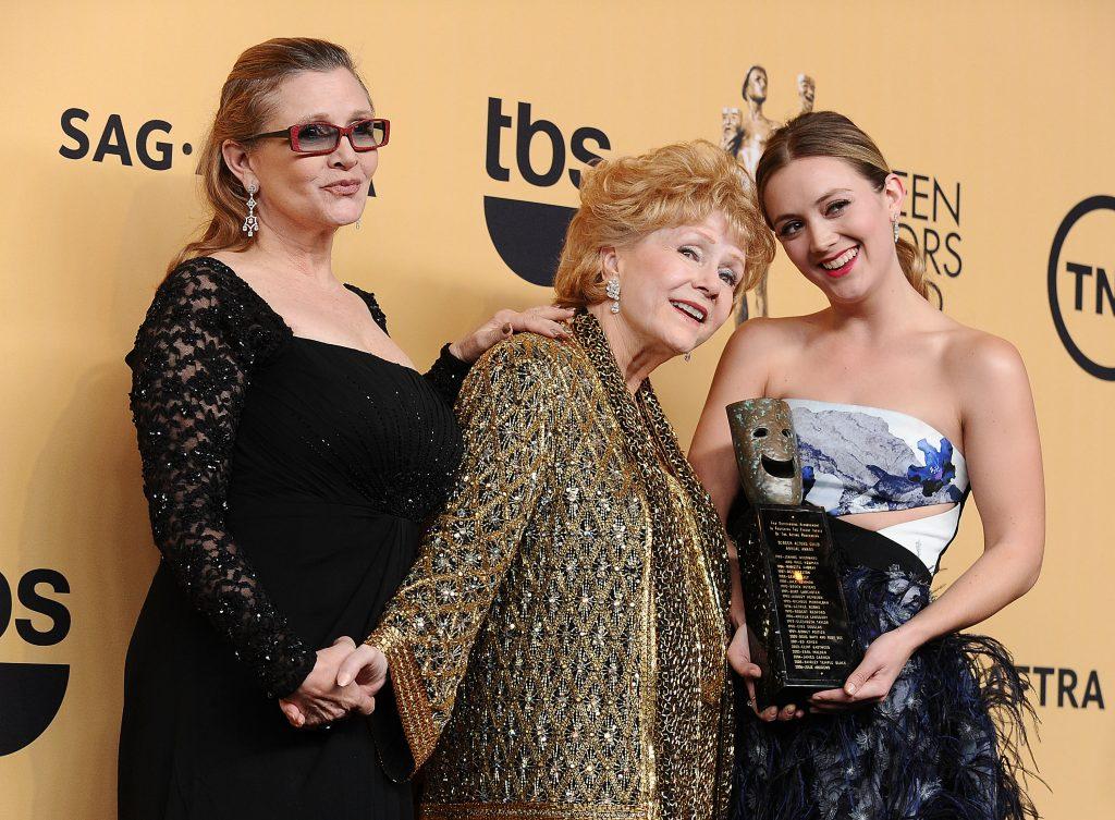 Carrie Fisher, Debbie Reynolds, and Billie Catherine Lourd at the 21st annual Screen Actors Guild Awards