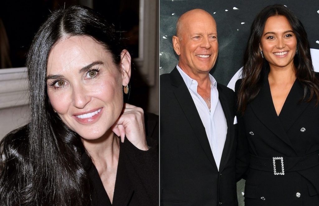 Demi Moore (left) and Bruce Willis and Emma Heming Willis (right) | Jacopo Raule/Getty Images/Dia Dipasupil/WireImage